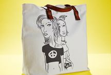 01WARDROBE Autumn/Winter 2013 - Peace Tote Bag / Cow Skin Leather Shoulder Straps // %100 Cotton Canvas bag / Printed bag / İllustrated bag / Girls / Sheep / Peace Tote Bag, $65