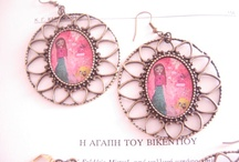 mixed media art illustrated jewelry