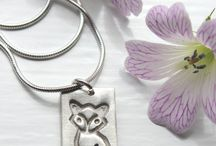 Fox jewellery / Handmade silver fox jewellery featuring embossed silver foxes. All sales support my hedgehog hospital for poorly and injured wild hedgehogs.