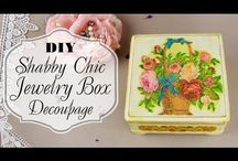 Decoupage Ideas / There are instructions for fabulous decoupage ideas like jewelry box, wall clock and more. #decoupageideas #homedecor #diydecorideas