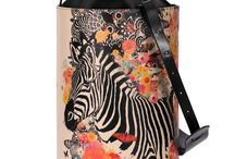Bucket Bag - Happy Zebra / Women Leather Handbags, Limited Edition Designer Leather Bag COLOURS OF MY LIFE - Limited Edition wearable art signed by Anca Stefanescu..