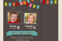 Sibling Birthday Parties / Sibling and Joint Birthday Party invitations and ideas