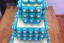 Macarons as decoration on cakes