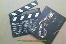 """wedding card """"Movie clip"""" anisa&febri. / hard cover MOVIE CLIP, material : ivory paper 210 / press sparation full color. lamination doff / Hotprint corp initial actor-is/ size : 200x155x(4x2). / covered : yellow board K.30/ Handmade product finishing/"""