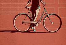 illustrations femmes à vélo