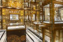 Gilardino Interior Design. / Eglomise glass produced for Gilardino Interior Design for the Graff Diamond stores