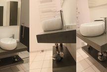 Meubles de salle de bain en béton ciré gris