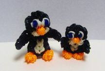 Penguin made out of rainbow loom river bands