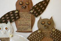 Plain Jane / Burlap & Brown paper bags, Lace & Doilies, denim, wood