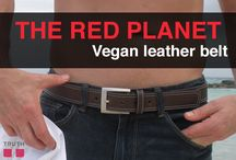 The Red Planet Vegan Belt / This belt has a smooth, casual, vegan leather style that is perfect with jeans. The double-top stitching really makes the Red Planet stand out from the rest of the pack. If you're looking to turn a few heads with a simple accessory, give this belt a spin! You won't be disappointed. $56.00 www.truthbelts.com / by Truth Belts - Vegan Fashion