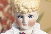 """Bisque molded hair """"parian"""" head dolls"""