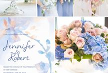 Blue pastel pink wedding
