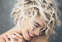 blond curly hair
