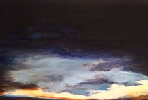 """On the rim of a dream, I travel"" from Colores de Luna azul / Diptic, oil on linen 32""x64"""