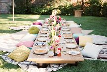 Picnic Style Party Setup / Picnic Style Party Setup Inspiration  It is a wonderful concept to sit outside in summer and enjoy time with families and friends, Here are some great ideas on how to do the setup