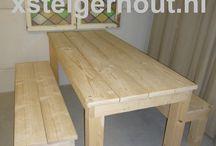 Tafel steigerhout met massieve poten bouwpakket set artikel nr 107