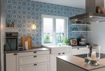 Cement tiles on walls