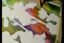 akvarelliopetusta- learning water colours