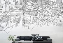 chalk drawings on the wall