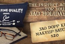 The Jao Dopp Kit / Makeup Satchel / This 9x6 Jao Brand DOP Kit, made in the USA of 100% cotton denim with American deerskin leather cord will hold all of your Jao essentials with room for toothbrush, toothpaste, comb or brush etc..