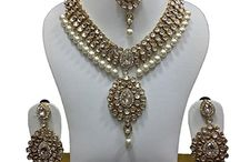 Indian Bollywood Wedding Party Kundan Jewelry Necklace Set