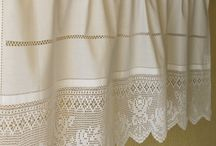 cortinas lienzo y crochet