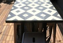 cement tile table