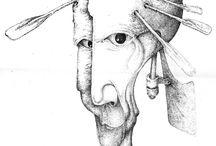 Экосюр / Сюрреалистические черно-белые рисунки тушью