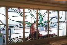 How Do They Do That? / Here are a few photos during an install to get an idea of the process and how it all comes together. The finished window looks as if each element was created with stained glass. Very impressive from both inside and out. How would you do your glass?
