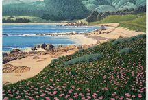 Gordon Louis Mortensen / Born 1938. American reduction woodcut print artist.