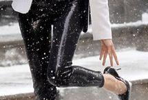 high heels in snow