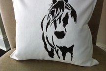 my horse pillows / I drew horse, cut out stencils and painted on fabircs