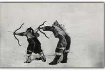Traditional Inuit bows and arrows