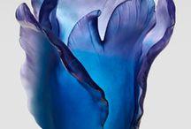 Blue Porcelain & Chrystal & Glass