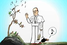 Pope Cartoons / Remarkable what a difference in tone between pope Francis and his predecessor Pope Benedict XVI when you look at these cartoons. It is mainly harsh (Benedict) vs. mellow (Francis)