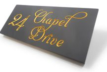 Gilded Welsh Slate Plaques / Welsh slate plaques, hand gilded with 23.5krt gold leaf to create a beautiful, timeless piece for your home or business. For more information visit www.stonesign.com
