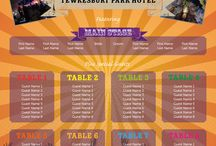 Music Festival Themed Wedding Table Plans / Wedding table plans designed by Printed Table Plans inspired by music festival line-ups and posters.