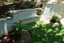 garden bench retaining wall