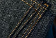 Bolso traseiro e detalhes denim/jeans