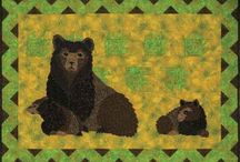 Great Outdoors / Bears, quilts, quilting, sewing projects, animals, Fun animals, desert quilts, waterfalls, mountains, Yellowstone, Havasu Falls, Multnomah, Streams, Japanese Gardens