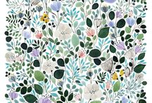 Floral - Patterns / Mostly colorful floral patterns such as on wallpaper or fabric.