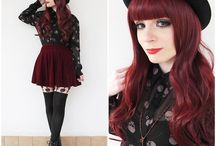 Dark red goth hairstyle