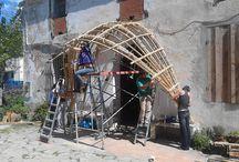 Campos de practica CanyaViva / campo de practica CV en Mataró con la construcción de un porche en Mataró.