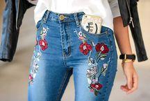 Jeans ricamato silk