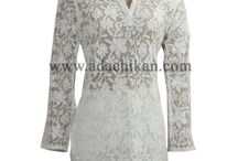 Net Chikan Kurtis / net long tops with chikan embroidery
