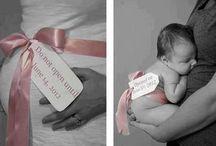 Avant/après / Photographies de la grossesse et d'après accouchement avec le bébé.