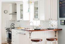 Beach Retreat / Cape Cod white kitchen with a mix of retro & contemporary details