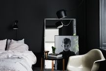Dark Spaces // / Decorate your home in the deepest darkest shades with this inspiration mood baord