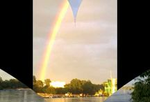 Rainbow over the River Vistula in Poland