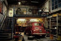 Rustic garage in the house
